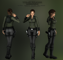 Lara Croft - Casual Black and Green DOWNLOAD by elyhumanoid