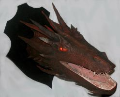 Smaugs Head on Trophy Board Sculpture - for sale- by wadwood