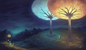 Trees Of Valinor by HelenKei