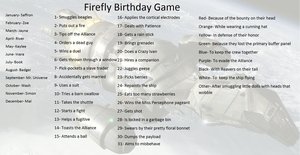 Firefly birthday game by FlyingGuineaPig