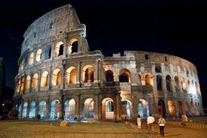 The Colosseum at night by Aishlling