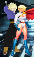 Future Trunks and Power Girl by WOLFBLADE111