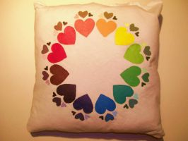 Rainbow Heart Pillow by CreaturesChild