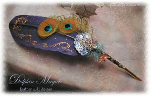 DOLPHIN MAGICK Feather Pen A by ChaeyAhne