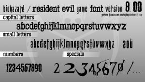 Biohazard / Resident Evil Game Font version 8.00 by Snakeyboy