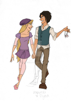 modern Rapunzel and Flynn by bambzilla
