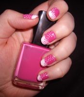 Pink and White Dot nails by Shadowoftheredrose