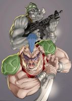 Bebop and Rocksteady by CyberMonkeytron3000