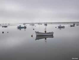 Misty calm day at Orford by ancoben