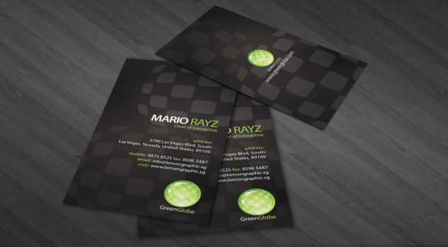 Green globe business card by Lemongraphic