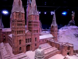 hogwarts castle in the snow, film set props.WB set by Sceptre63