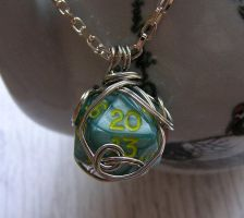 Wire Wrapped Green Pearl d20 by lavadragon