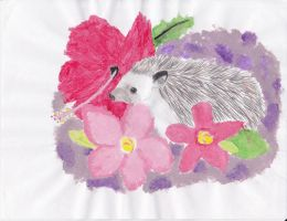 Tropical Flowers and a Hedgehog by Snivy94