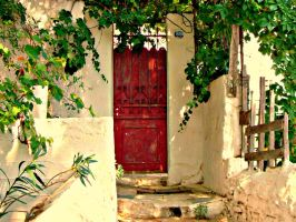 A Red Door below the Acropolis by shuckaby