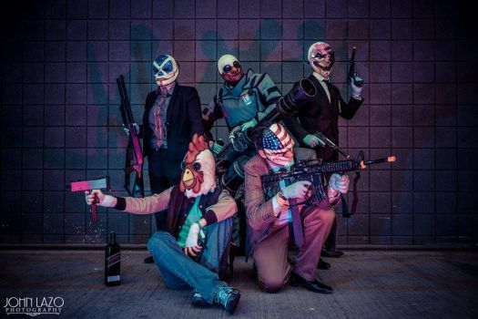 Payday 2 group cosplay by Swedish-Action-Hero