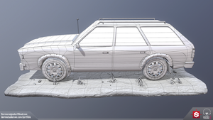 Station Wagon - Side - Wireframe by DTHerculean