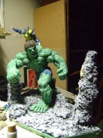 hulk and wolverine iron man Diorama by b1938dc