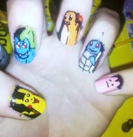Kanto Starter Pokemon Nails by Chelseapoops