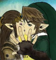 Zelda And Link by KaitCobain