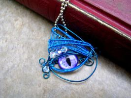 Wire Wrap - Bright Blue Purple Silver Eye by LadyPirotessa