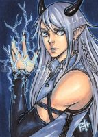 aceo - blue lightning by demon-rae