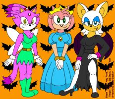 Sonic Girls Halloween by CaseyDecker