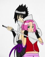 Sasusaku colored for Fey-Reyan by BindedInChains