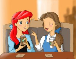 Ariel and Belle at Starbucks by Anime-Ray
