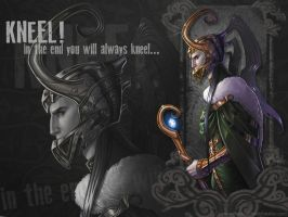 Loki: Kneel! Wallpaper by Medusa-Dollmaker