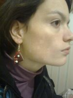 cake's earring made in fimo by Owlnuny