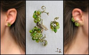 Green berries ear cuff and stud by JSjewelry