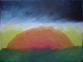 Sunset Oil Finger Painting by Chexed