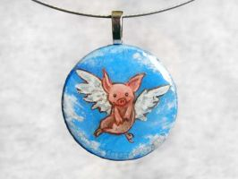 Flying Pig Pendant by sobeyondthis