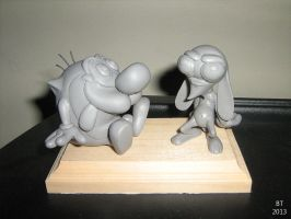 Ren And Stimpy Sculpture by BThomas64