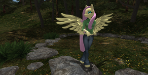 anthro fluttershy by bangayo