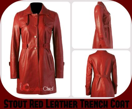 Stout Red Trench Leather Women Coat by Megan-Walker