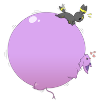 (Art trade) Umbreon inflating Espeon some more by TheOrangeLion