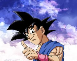 Thumbs Up Goku w/ background by gokujr96