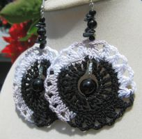 Black and white with onyx, crochet earrings by doilydeas