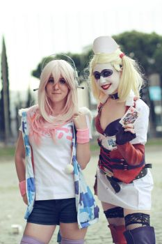 Super Sonico with Harley Quinn by FahrenheitCosplay