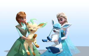 MMD Frozen-PKMN - Updated XY - Glaceon and Leafeon by JackFrostOverland