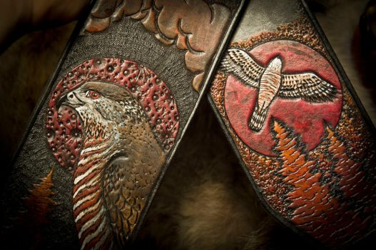 Cooper's Hawk Leather Guitar Strap by EastCoastLeather