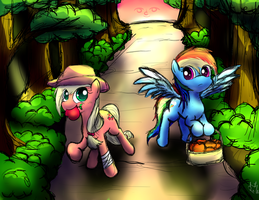 Applejack and Rainbow Dash by GodOfSteak