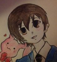 Haruhi and Usa-chan by ColouredSharpenings