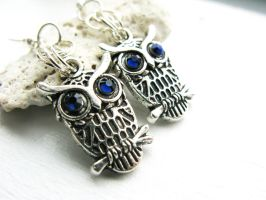 SOLD - Owl Earrings - Montana Blue by crystaland