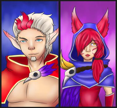League of Legends: Rakan and Xayah by theyakate