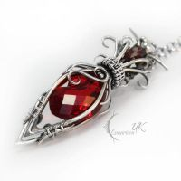 NILIENARH - silver , red quartz and garnet by LUNARIEEN