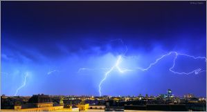 Lightning over the city, Zagreb Croatia by nrasic