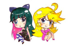 Panty and Stocking Chibis by ScreamingLullabies