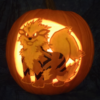 Arcanine Pumpkin Light Version by johwee